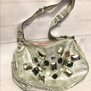 Kathy Van Zeeland Silver Metallic jewel purse bag
